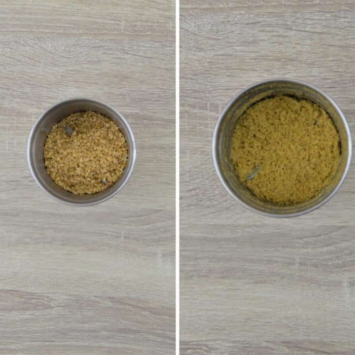 before and after grinding flaxseeds in a blender