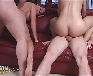 Swinger Amateur Teen Gets Dual Penetration and Creampie