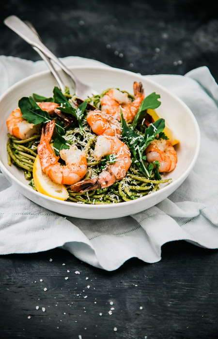overhead shot of prawns and pasta in a white bowl - professional photography tips
