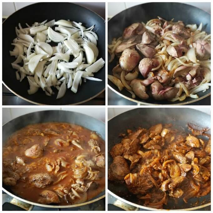 Collage of 4 photos to show how to make chicken liver and onions