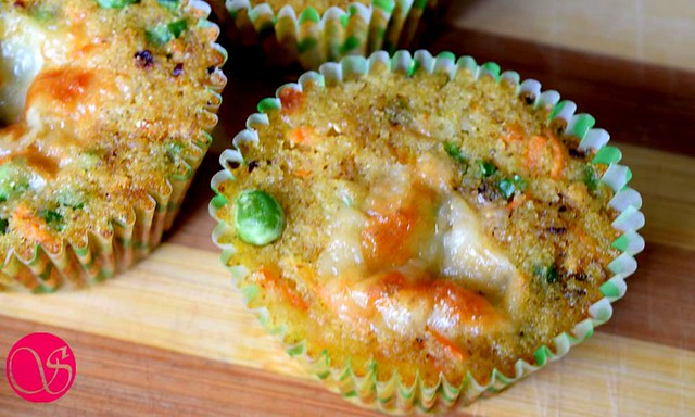 Savory semolina muffins after baking