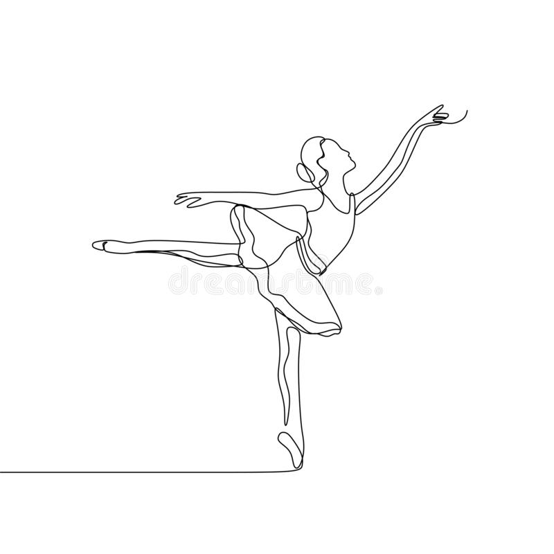 Awesome ballerina girl dancing for art performing vector illustration continuous one line drawing vector stock illustration