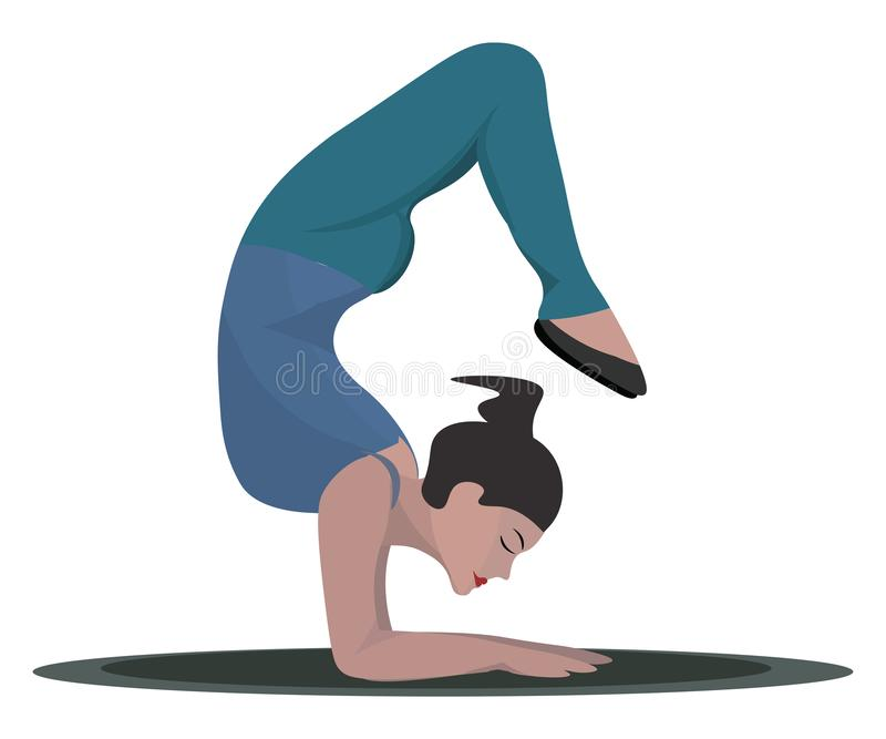 Beautiful girl performing yoga, vector or color illustration stock illustration