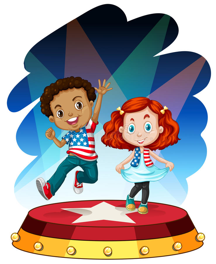 Boy and girl performing on stage vector illustration