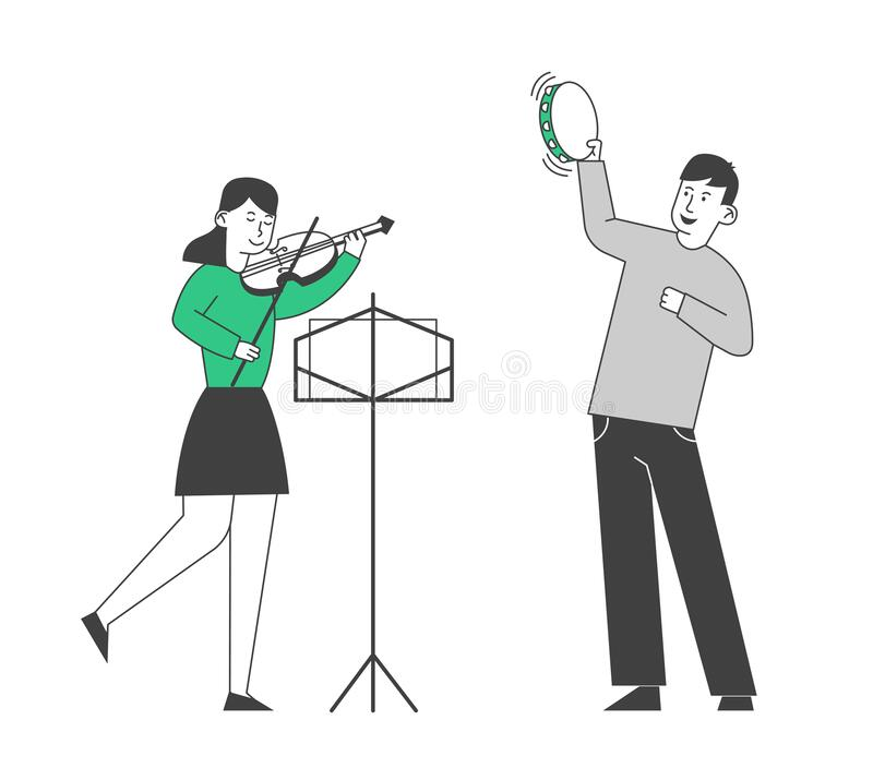 Creative Musical Duet of Boy Playing on Tambourine and Girl with Violin Performing on Stage. Class in Music School stock illustration