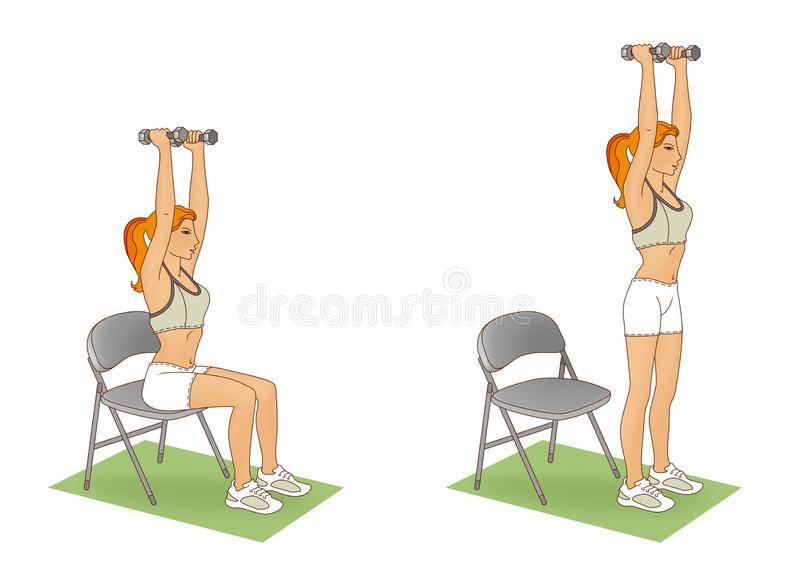 Exercise with dumbbells. Girl performing an exercise lifting from the chair with her arms raised and a dumbbell stock illustration