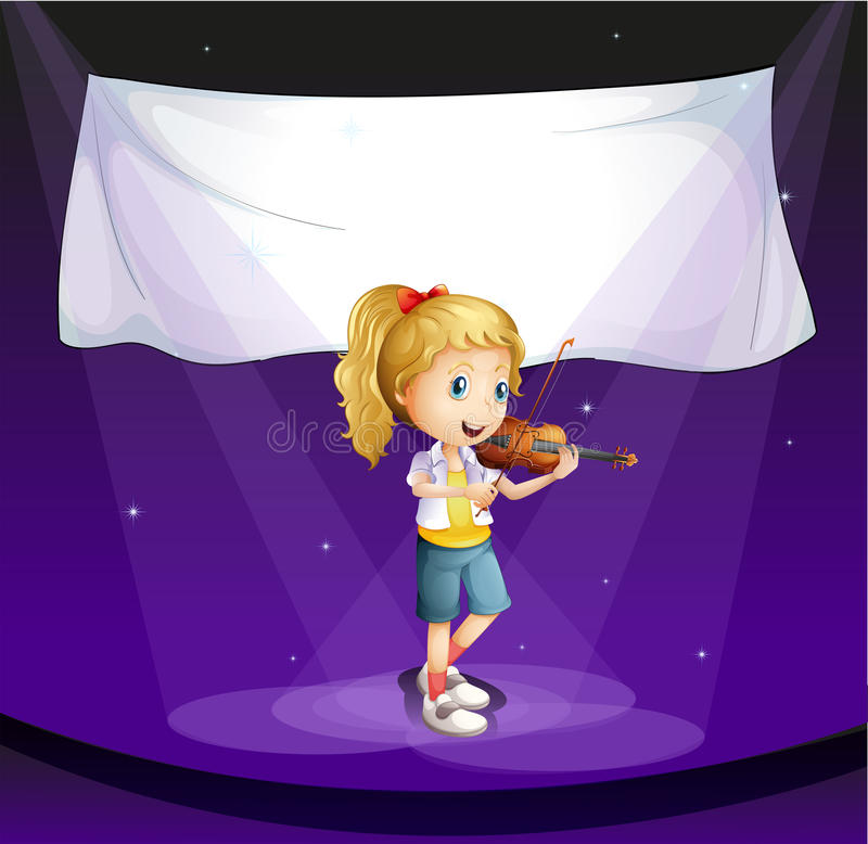 girl performing at stage with an empty banner royalty free illustration
