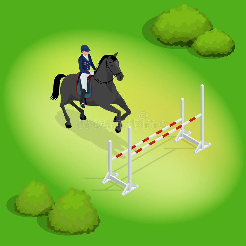 Isometric young rider girl performing jump at horse show jumping competition. Equestrian sport background. Vector royalty free illustration