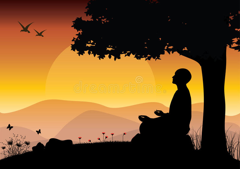 Man meditating in sitting yoga position on the top of a mountains above clouds at sunset. Zen, meditation, peace, Vector vector illustration