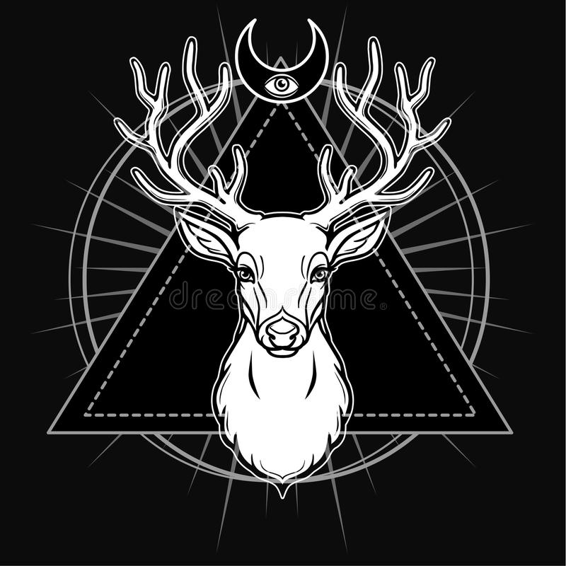 Mystical image of the head of a horned deer, sacred geometry, symbols of the moon. stock illustration