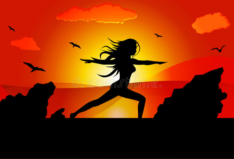 Woman doing yoga on beach during sunset in a Warrior Pose. vector illustration